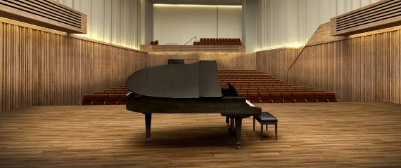 Image of The Stoller Hall from the stage, with a piano