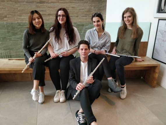 Five flute students